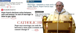 The Pope: «Family is only between man and woman». But he has already said it many times!